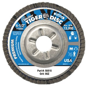 Weiler® Tiger® Disc Angled Style Flap Discs | Tiger Disc Angled Style Flap Discs, 4 1/2