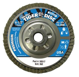 Weiler® Tiger® Disc Angled Style Flap Discs | Tiger Disc Angled Style Flap Discs, 4 1/2 in, 36 Grit, 5/8 Arbor, Aluminum Back