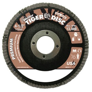 Weiler® Tiger® Disc Angled Style Flap Discs | Tiger Disc Angled Style Flap Discs,4 1/2