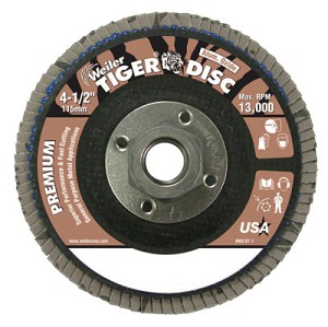 Weiler® Tiger Disc® Flat Style Flap Discs | Tiger Disc Flat Style Flap Discs, 4 1/2