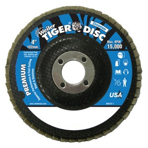 Weiler® Tiger Disc® Flat Style Flap Discs | Tiger Disc Flat Style Flap Discs, 4