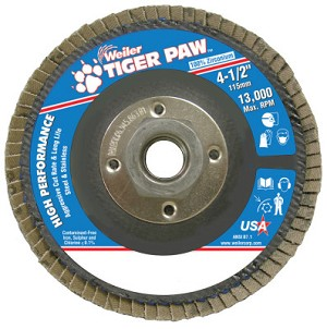 Weiler® Tiger Paw™ Coated Abrasive Flap Discs | Tiger Paw Coated Abrasive Flap Discs, 4 1/2