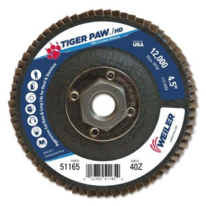 Weiler® Tiger Paw™ Super High Density Flap Discs | Tiger Paw Super High Density Flap Discs, 4 1/2