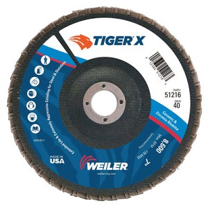 Weiler® TIGER® X Flap Discs | TIGER X Flap Disc, 7 in Angled, 40 Grit, 7/8 in Arbor