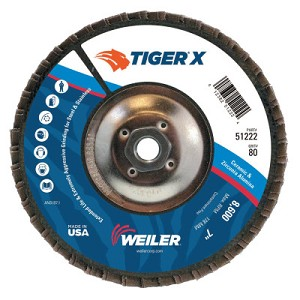 Weiler® TIGER® X Flap Discs | TIGER X Flap Disc, 7 in Angled, 80 Grit, 5/8 in - 11 Arbor