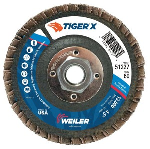 Weiler® TIGER® X Flap Discs | TIGER X Flap Disc, 4 1/2 in Flat, 60 Grit, 5/8 in - 11 Arbor