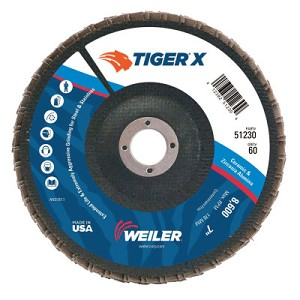 Weiler® TIGER® X Flap Discs | TIGER X Flap Disc, 7 in Flat, 60 Grit, 7/8 in Arbor