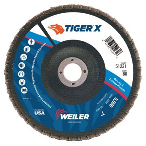 Weiler® TIGER® X Flap Discs | TIGER X Flap Disc, 7 in Flat, 80 Grit, 7/8 in Arbor
