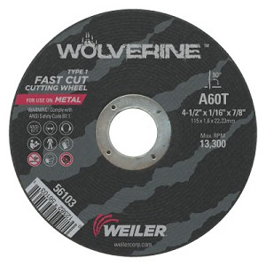 Weiler® Wolverine™ Thin Cutting Wheels | Wolverine Thin Cutting Wheels, 4 1/2 in Dia, 1/16 in Thick, 60 Grit, Alum Oxide