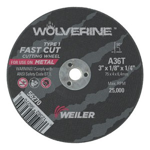 Weiler® Wolverine™ Thin Cutting Wheels | Wolverine Thin Cutting Wheels, 3 in Dia, 1/8 in Thick, 1/4 Arbor, 36 Grit