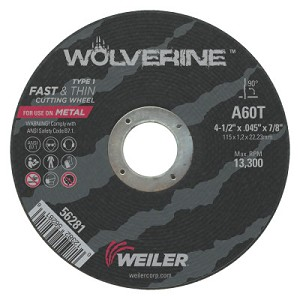 Weiler® Wolverine™ Thin Cutting Wheels | Wolverine Thin Cutting Wheels, 4 1/2 in x .045 in, 60 Grit, T, Aluminum Oxide