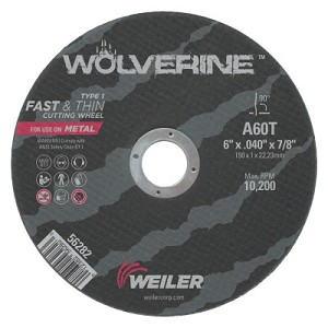 Weiler® Large Type 1 Reinforced Wheels | Large Type 1 Reinforced Wheel, 6 in Dia, .04 in Thick, 60 Grit Aluminum Oxide