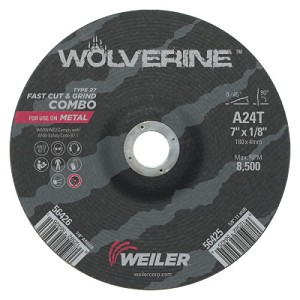 Weiler® Wolverine™ Combo Wheels | Wolverine Combo Wheels, 7 in Dia, 1/8 in Thick, 7/8 in Arbor, 24 Grit, T