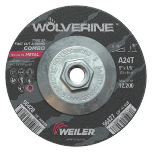 Weiler® Wolverine™ Combo Wheels | Wolverine Combo Wheels, 5 in Dia, 1/8 in Thick, 5/8 in Arbor, 24 Grit, T