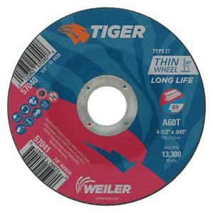 Weiler® Tiger Thin Cutting Wheels | Tiger Thin Cutting Wheels, 4 1/2 in Dia, .045 in Thick, 7/8 in Arbor, Grit 60