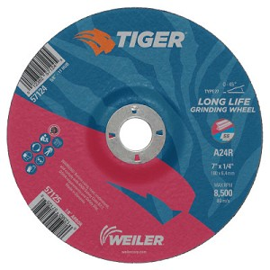 Weiler® Tiger A24S Long Life Depressed Center Grinding Wheels | Tiger Grinding Wheels, 7 in Dia, .045 in Thick, 7/8 in Arbor