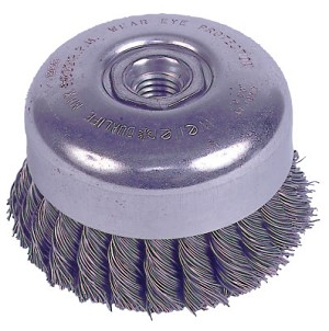 Weiler® Wire Cup Brushes with Internal Nut | Wire Cup Brush with Internal Nut, 4 in Dia., 5/8-11 UNC Arbor, .023 Steel Knot